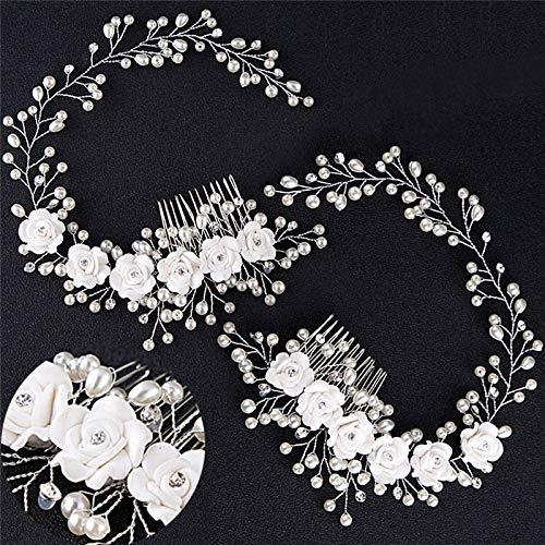 Peinetas para el cabello con flor de perla blanca, joyería Tiaras, diadema...