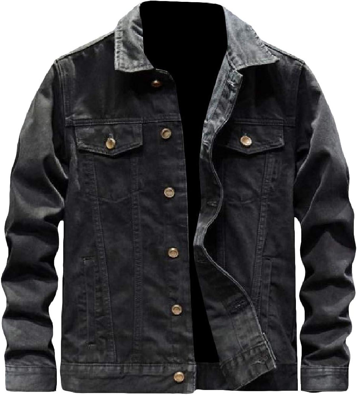 bb577adb Zimase Men's Regular-Fit Letter Printed Turn Down Collar Collar Collar  Vintage Denim Jacket 9205f2