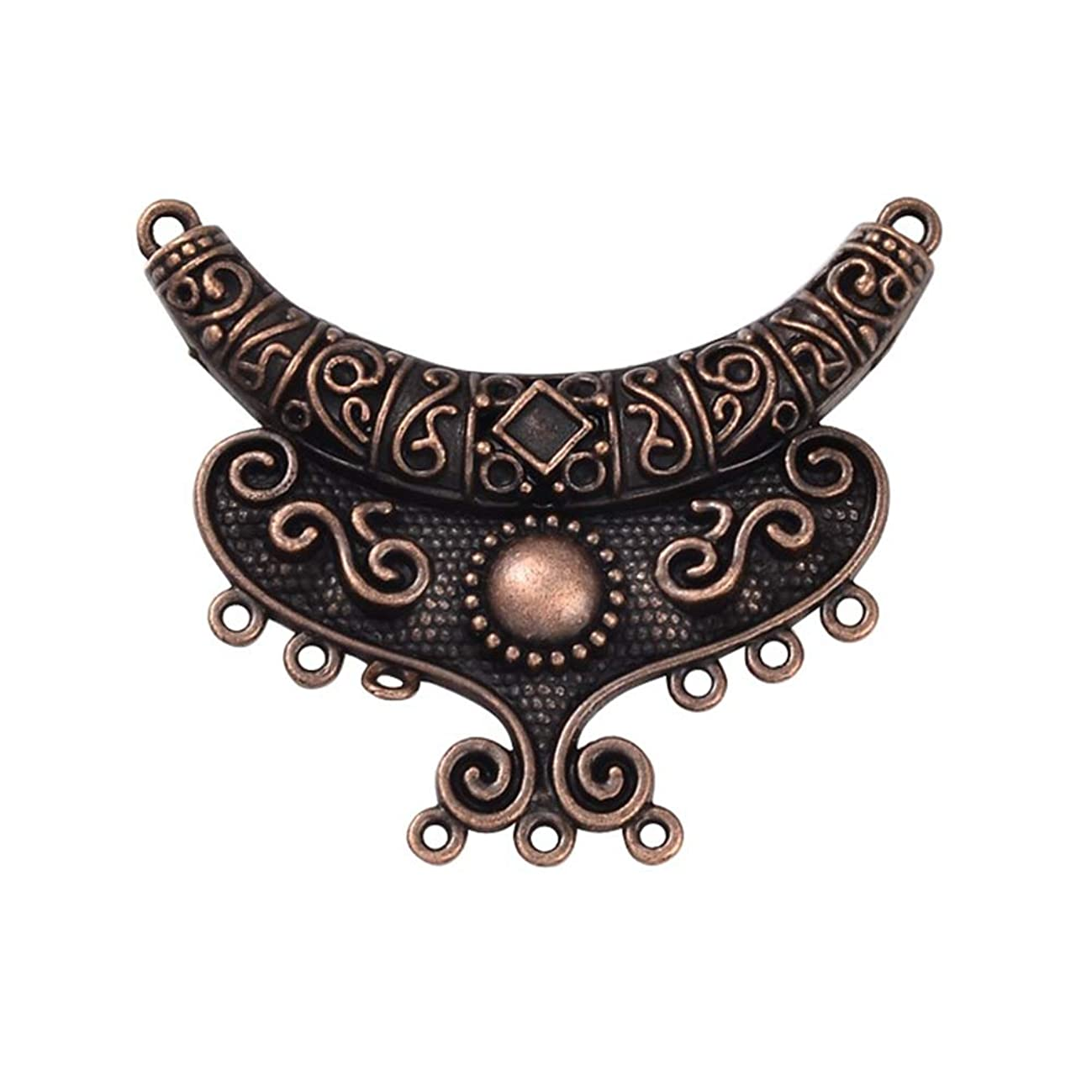 PH PandaHall 5pcs Alloy Chandelier Component Links Moon Links Red Copper Charm Links for Necklace Dangle Earring Making