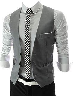 MU2M Men V-Neck 3 Button Slim Fit Suit Coat Sleeveless Waistcoat