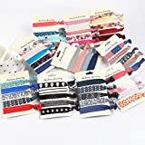 Beauty Wig World 50 Pcs Elastic Hair Ties No Crease Ribbon Ponytail Holders Bows Printed Pattern Hair Bands Accessories for Girls Women Teens and Kids