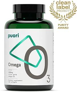 Puori - O3 Ultra Pure Omega 3 Fish Oil for Heart, Brain & Eye Health, Inflammation - Burpless, IFOS Certified, Non-GMO, 2000mg EPA 1250mg DHA 500mg, 120 Softgel
