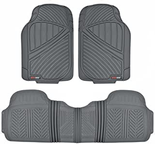 Motor Trend FlexTough Baseline - Heavy Duty Rubber Car Floor Mats, 100% Odorless & BPA Free, All Weather (Gray) - MT773GRAMw1