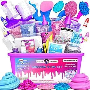 Original Stationery Slime Kit Unicornio Completo - Todo en una caja para que los niños y niñas hagan Slime - Suplementos para Slime de Unicornios, Purpurina, Arcilla Blanda, Plastilina, Floam Rosa