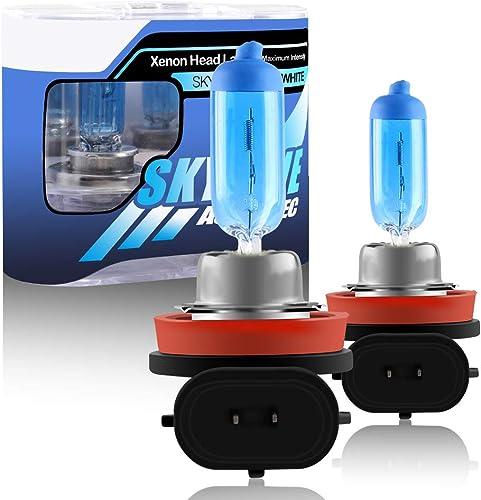 2Pcs H11 55W Super Bright White 5000K Halogen Xenon Light Bulb 12V Car Headlight Light Lamp Replacement