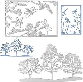 FineGood 2 matrices pour la fabrication de cartes, matrices de découpe libellule arbres matrices de découpe pour album de ...