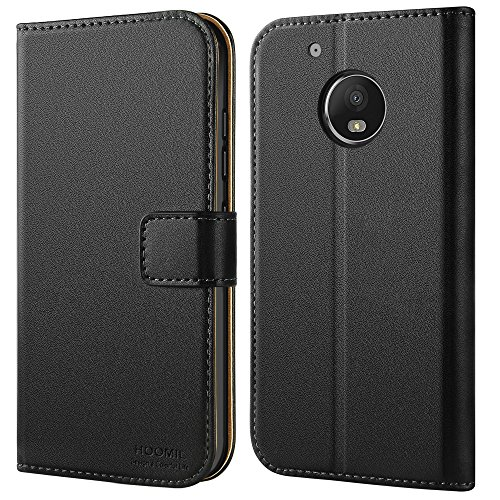 HOOMIL Handyhülle für Moto G5 Plus Hülle, Premium PU Leder Flip Schutzhülle für Motorola Moto G5 Plus Tasche, Schwarz