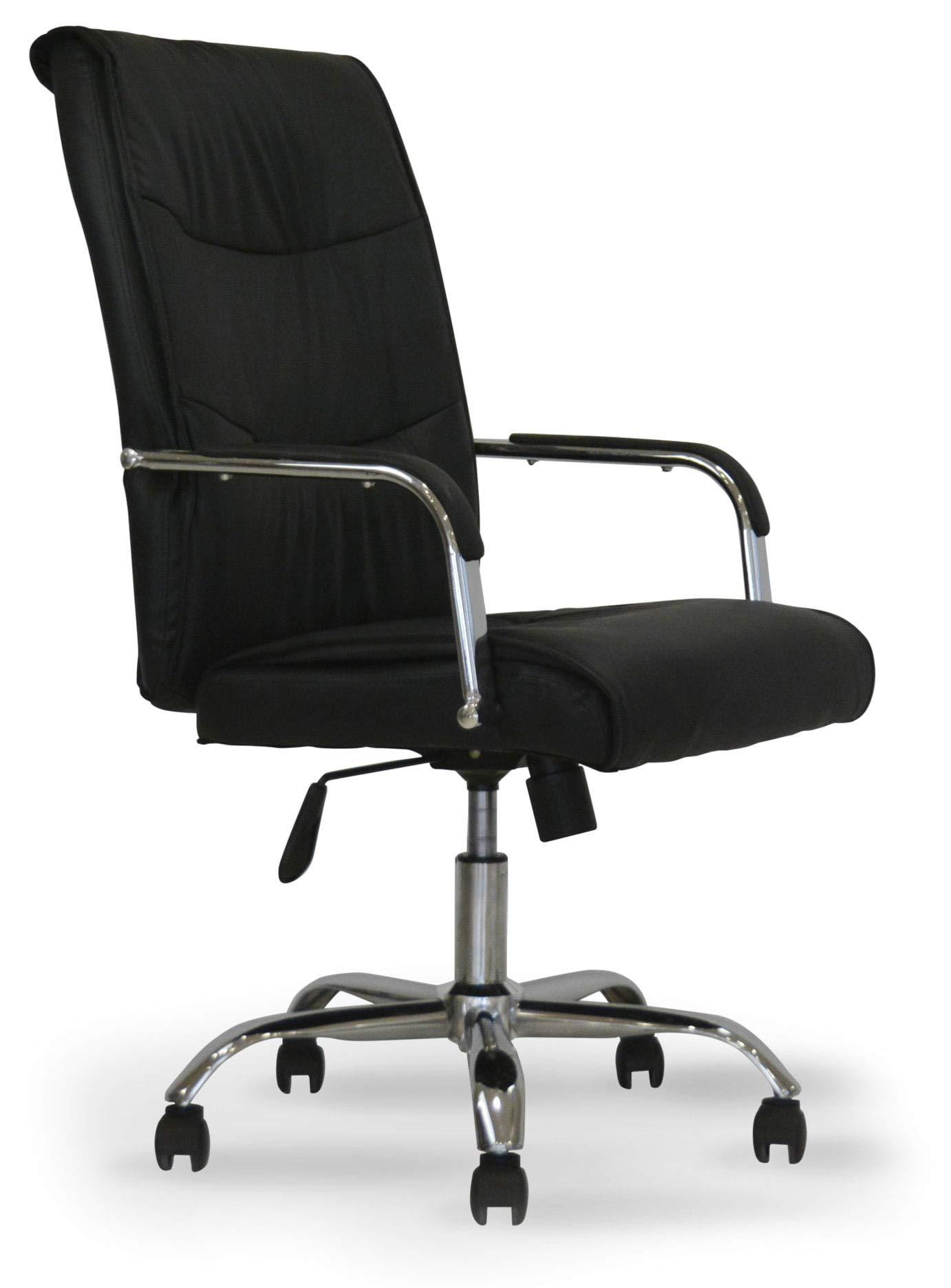 Piushopping Sedia da scrivania Poltrona ufficio confortevole con braccioli in eco-pelle nera direzionale regolabile Girevole Operativa Ergonomica studio