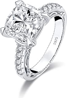 5 Carat Cushion Cut NSCD Simulated Diamond Cubic Zirconia Sterling Silver Promise Wedding Solitaire CZ Engagement Ring