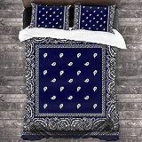 zblin Bandana Blue Boutique 3 Piece Bed Sheet Set All-Season Microfiber 1800, Super Soft, Comfortable and Luxurious 86x70inch Queen