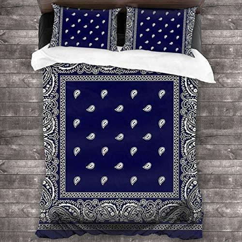 zblin Bandana Blue Boutique - Juego de sábanas de microfibra 1800 para todas las estaciones, súper suave, cómoda y lujosa de 218,4 x 177,8 cm Queen