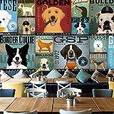 GBHL HD Papel pintado TV Large Mural Habitación para niños Fondo de pared Perro de dibujos animados Pet Shop Tema no tejido, 200X140 CM (78.7 por 55.1 in)