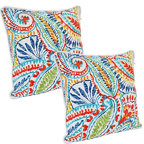 Sunnydaze Set of 2 Indoor/Outdoor Decorative Throw Pillows - 16-Inch Square Throw Pillows - Pillow Set for Indoor or Outdoor Bench, Chair or Loveseat - Bold Paisley