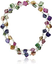 Gem Stone King 46inches Multicolor Cultured Freshwater Pearl & Simulated Shell Pearls Necklace