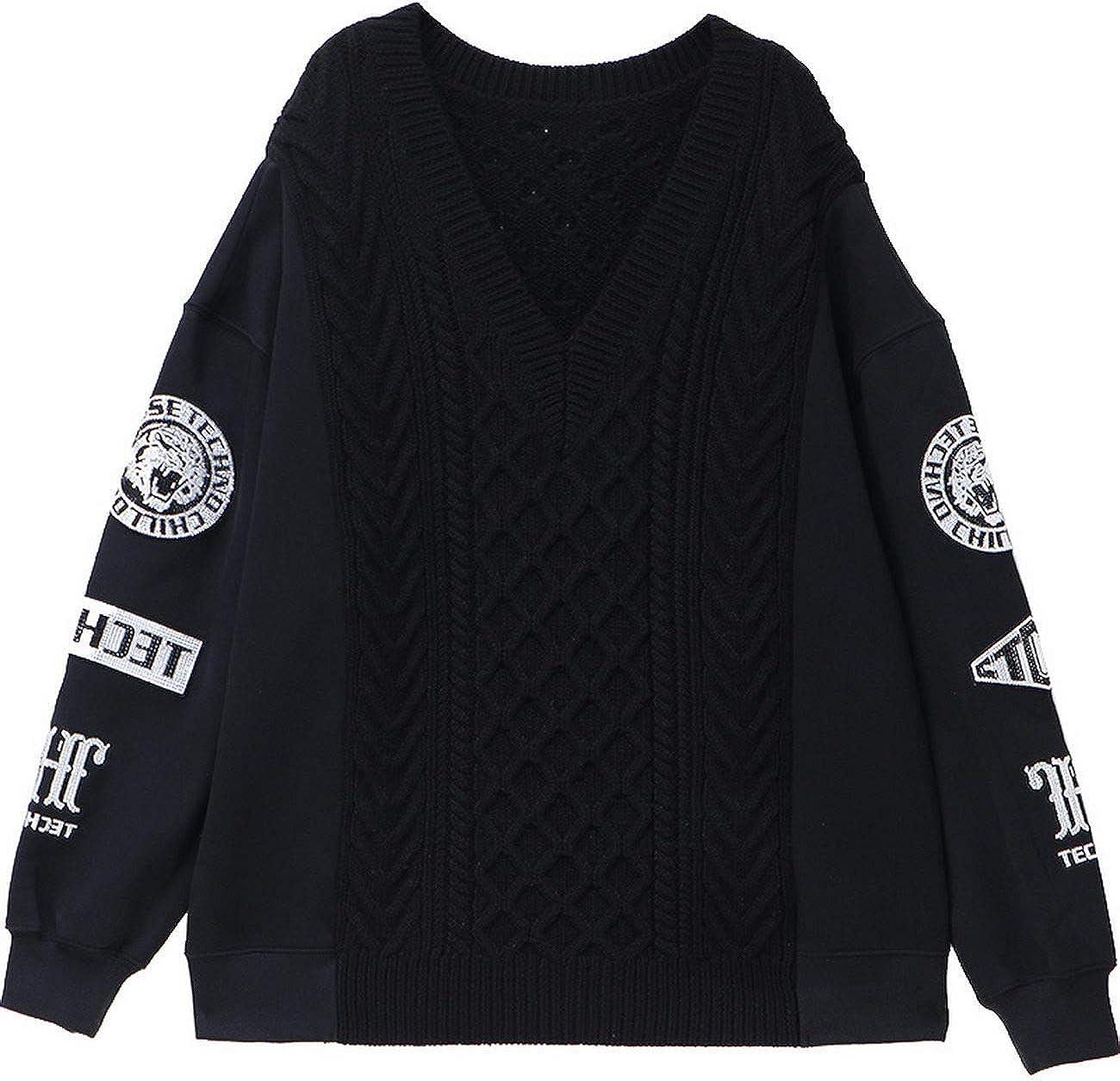Light Luxury Tide Brand Big C hot Beads Stitching Loose Sweater Men and Women T194116010