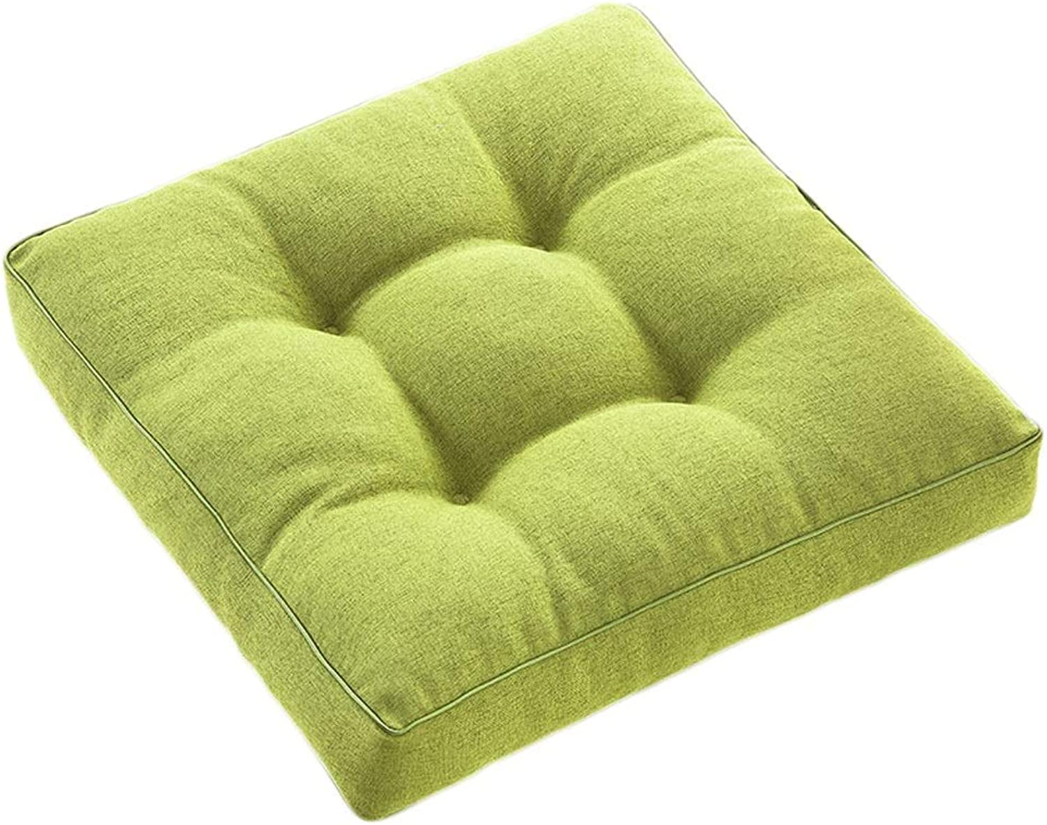 Seat Cushion Seat Cushion Green Flax Cushion Thicken Student Chair Cushion Sofa Office Chair Lumbar Support Four Seasons Available Soft and Comfortable Chair Pad (color   A, Size   40  40  8cm)