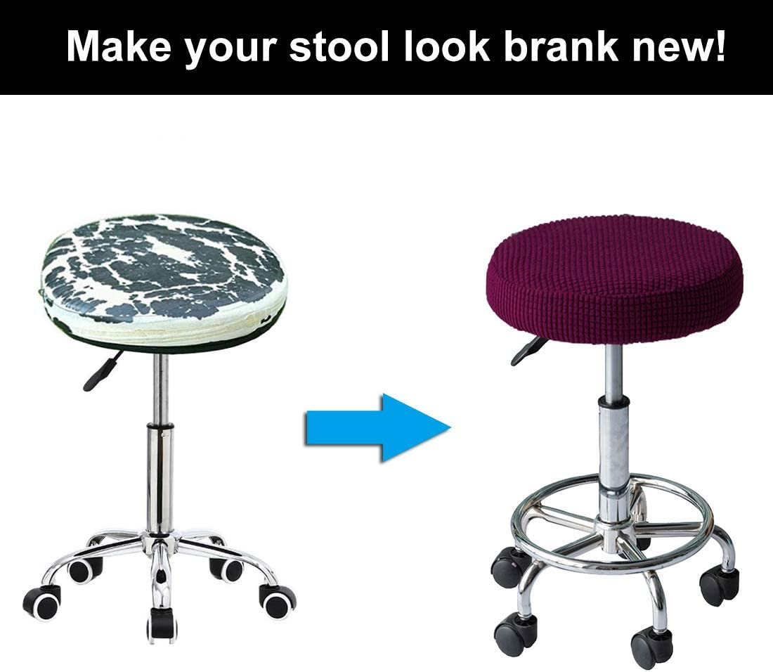 Dark Purple, 2 Pack WOMACO 2 Pack Round Stool Covers Stretch Bar Stools Seat Cover Barstool Cushion Round Slipcovers for 12 13 14 15 inch Round Stool
