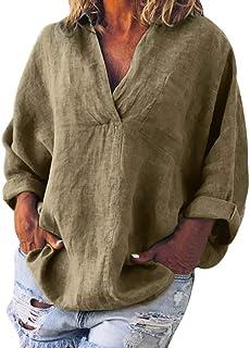 Blouse NJGV Women Fashion Plus Size Solid Long Sleeve V-neck Loose Shirt Pocket Casual Linen T-Shirt