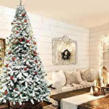 9FT Christmas Tree Snow Flocked Artificial Christmas Tree Perfect for Indoor and Outdoor Holiday...
