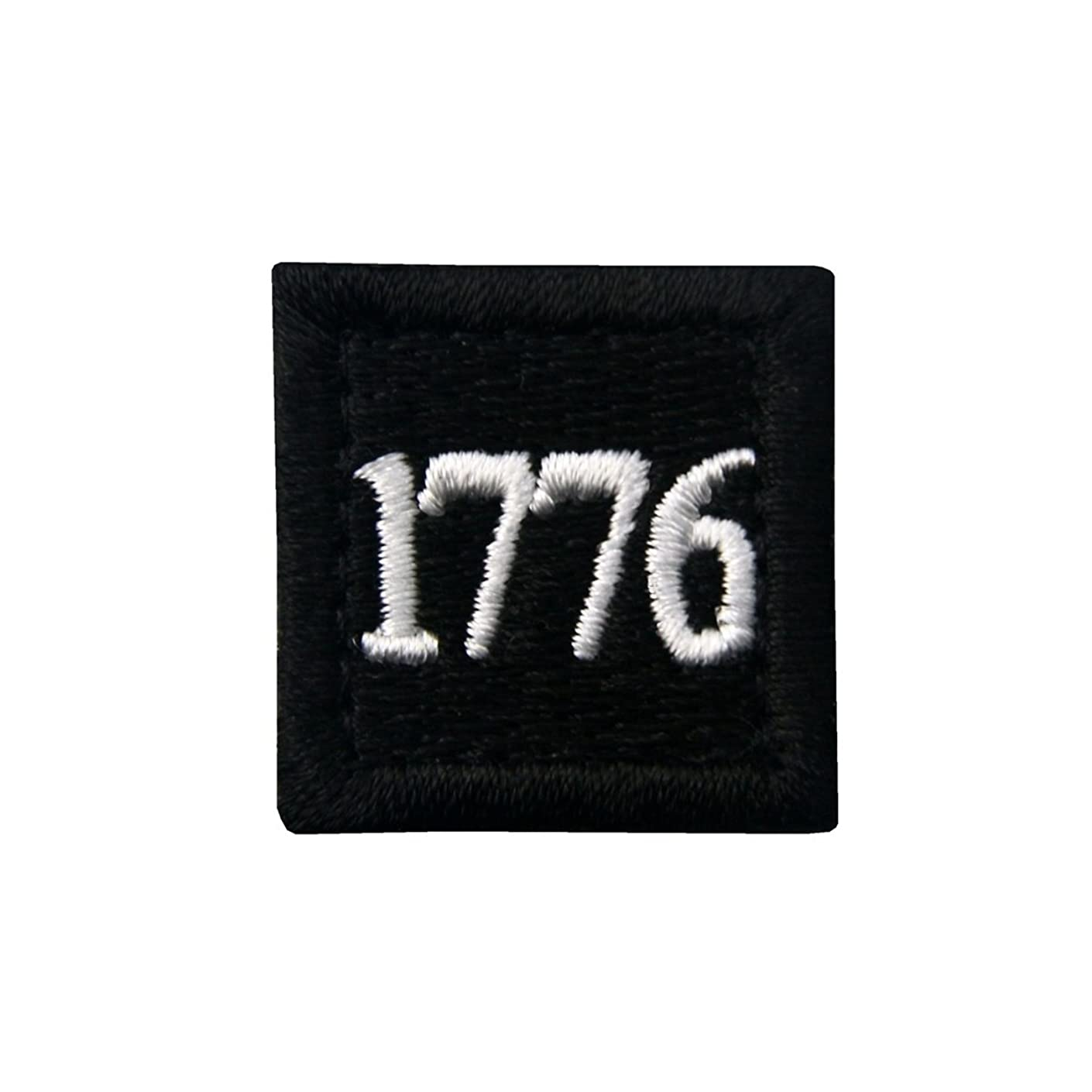 1776 American Independence Emblem Tactical USA Morale Embroidered Applique Fastener Hook&Loop Patch - Black