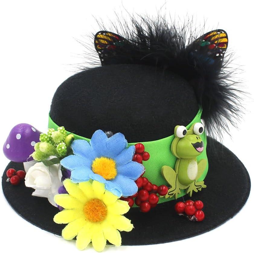 CHENJUNAMZ Women's Handwork Black Mini Top Hats Craft Making Party Fascinator Alligator Clips Millinery DIY Ordinary (Color : Black, Size : Average)