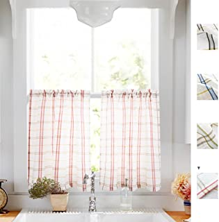 White Tier Curtains for Kitchen, Red and Taupe Check on White Sheer Curtains Classic Buffalo Checkered Linen Textured Gingham Cafe Curtains 24 inches Long Sold by Pair