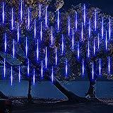 10 Tubes 30CM LED Météore Pluie Lumineuses Guirlandes Solaire ,DINOWIN Lumineux Etanche Extérieur Douche Pluie Feux pour Noël Mariage Fête Soirée Maison Arbre Sapin Jardin (Bleu)