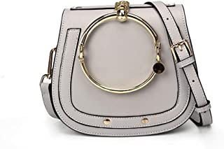 Yoome Women Punk Circular Ring Handle Handbags Small Round Purse Crossbody Bags For Girls