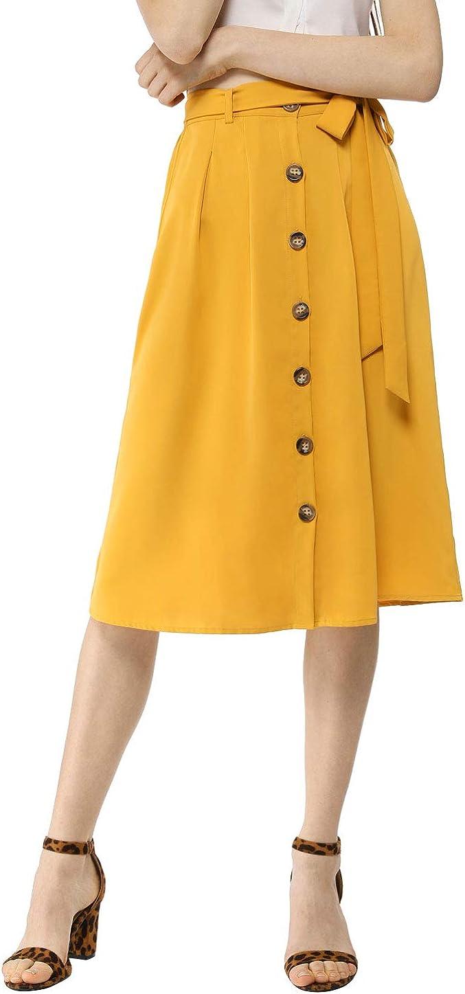 Allegra K Women's Button Front Casual High Waist Belted Midi Flare Skirt