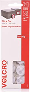 VELCRO Brand Stick On Hook and Loop Dots General Purpose Peel and Stick Adhesive - 22mm Dots, 12 Pack, White