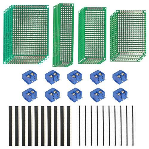 LAITER PCB Board Doppelseitiger Prototyp Breadboard Strips Millefori Leiterplatte Arduino Millefori Perforierte doppelseitige Universalplatine Löten Elektronisches Projekt 4 Größe