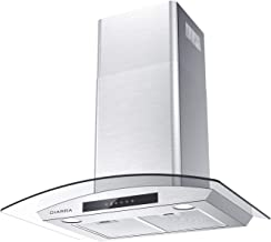 Glass Vent Hood, CIARRA 30 inch Kitchen Stove Range Hood with 3 Speed Exhaust Fan, 450 CFM Air Flow, 2 Led lights, 2 Dishwasher Safe Mesh Filters, Touch Control for Convenient Use