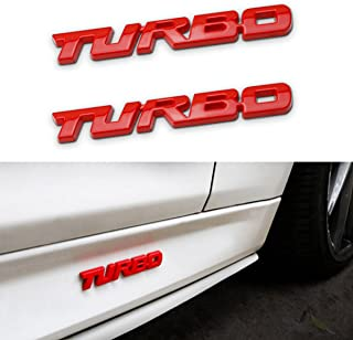TOTUMY 1 Piece 1439RDCHP Rs Red Chrome Badge Emblem 3D Car Trunk Side Auto Logo Fender Adhesive Replacement Decal Sticker Truck Van Sports Car Abs Plastic Diy