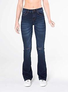 5218fafc5 Calça Jeans Bootcut cintura alta azul escuro Mofficer