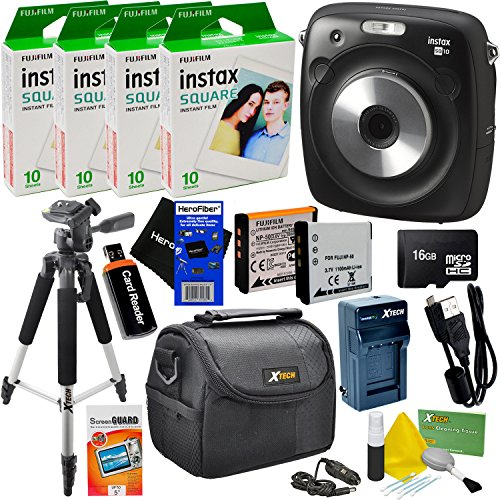 "Fujifilm Instax Square SQ10 Hybrid Instant Camera + 4 Fujifilm Instax Square Instant Films (40 Sheets) + 16GB Memory Card + 57"" Tripod + 9pc Accessory Kit w/HeroFiber Ultra Gentle Cleaning Cloth"
