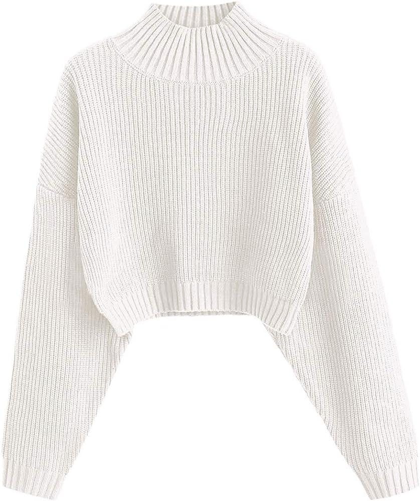 ZAFUL Women's High Neck Lantern Sleeve Ribbed Knit Pullover Crop Sweater Jumper