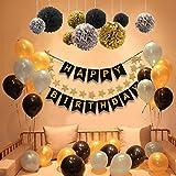 POMISTY Deko Geburtstag, Geburtstag Dekoration Set, Happy Birthday Dekoration 41 Stücks mit 9 Tissue Papier Pom Poms + 30 Große Geperlte Ballons + 1 Happy Birthday Banner für Alle Männer und Frauen - 6