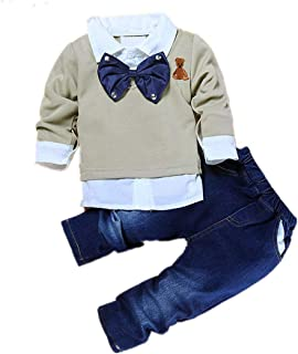 2pcs Toddler Baby Boys Bow Tie Shirt Tops+Denim Pants Gentleman Clothes Outfits