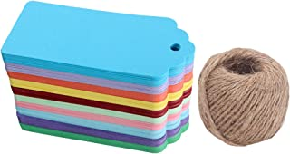 WARMBUY 200Pcs Colorful Rectangle Paper Tags for Holiday Presents Wedding Party Favors, 200 Feet Natural Jute Twine Included