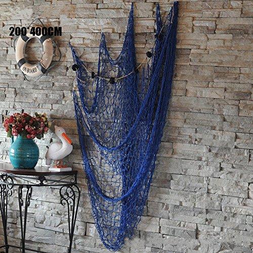 dngdom decorativo di stile mediterraneo rete da pesca Beach Party decorazione 200* 400cm blu