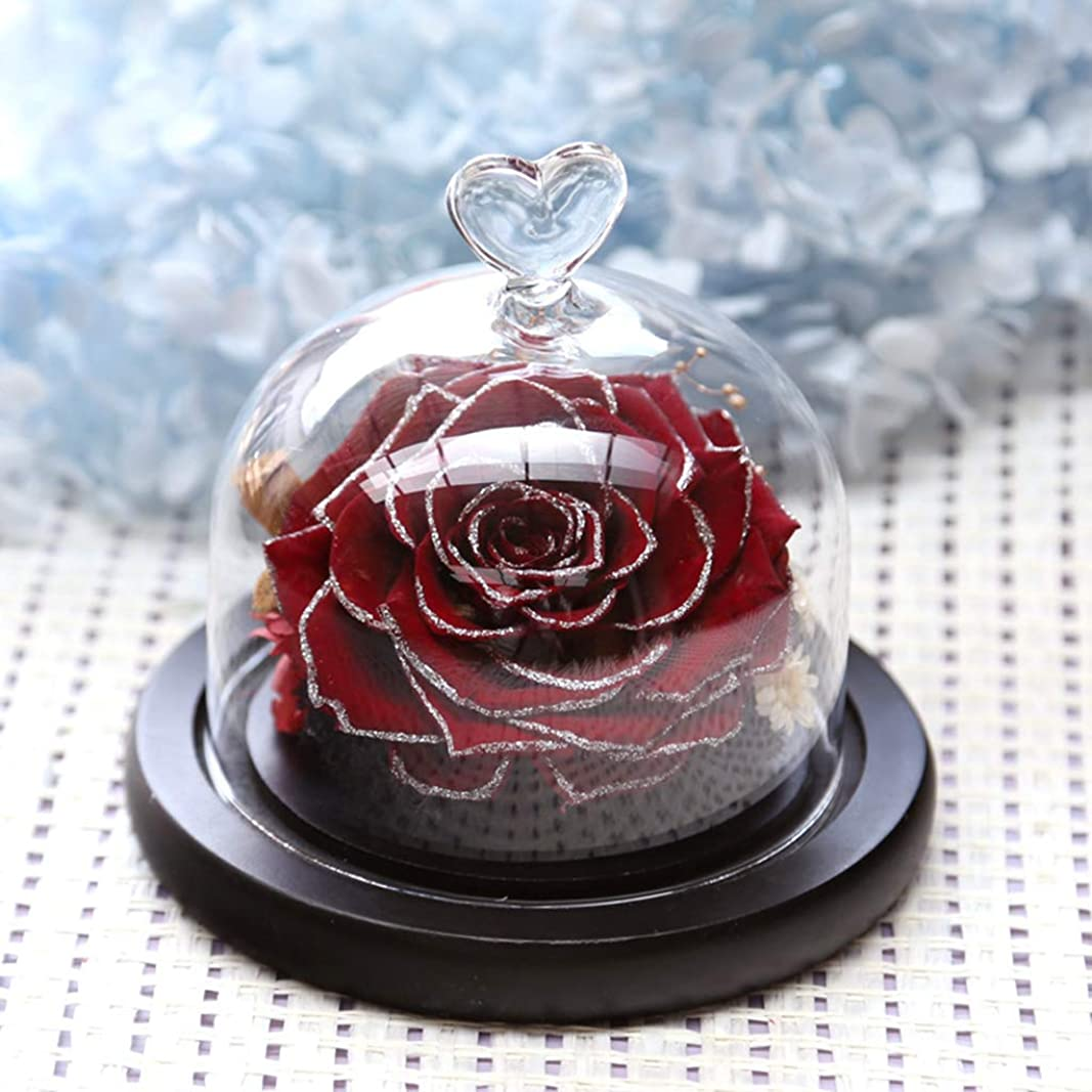 文献絶壁共感する美しいバラの装飾、ハート型のガラスドームのロマンチックな永遠のバラ、友人のためのフェスティバルホームインテリアギフト Red wine