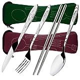 8 piezas Mostrada Conjuntos De Cuchillo, Tenedor, Cuchara, Palillos, SENHAI 2 Pack de vajilla con estuche e para viajar Camping Picnic Excursionismo(rojo marrón, verde oscuro)