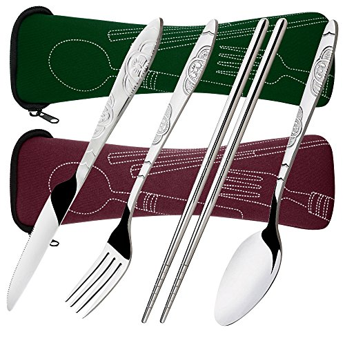 8 Pieces Flatware Sets Knife, Fork, Spoon, Chopsticks, SENHAI 2 Pack Rustproof Stainless Steel Tableware Dinnerware with Carrying Case for Traveling Camping Picnic Working Hiking(Red Brown,Dark Green)