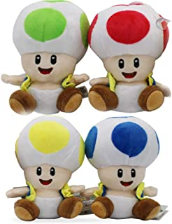 Super Mario Bros Plush Series Plush Doll: 5-Inch Squirrel / Musasabi /Yellow Toad / Kinopio ,4Pcs/Set+Gift Card