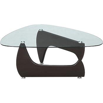 不二貿易(Fujiboeki) ガラスセンターテーブル ウォルナット 幅100×奥行75cm ガラス ルーク 【2梱包】 96142