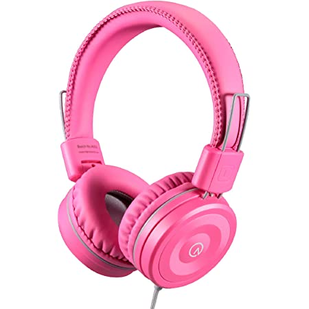 Kids Headphones-Noot Products K22 Foldable Stereo Tangle-Free 5ft Long Cord 3.5mm Jack Plug in Wired On-Ear Headset for iPad/Amazon Kindle,Fire/Girls/School/Laptop/Travel/Plane/Tablet Flamingo Pink