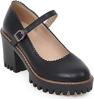 25528c6a HSNA Mary Jane Shoes Mujer Tacones Altos Ancho Plataforma Zapatos de Tacón  Medio Niña con Hebilla