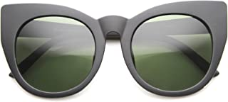 Womens Oversized High Fashion Bold Rimmed Glam Round Cat Eye Sunglasses (Matte Black/Green)