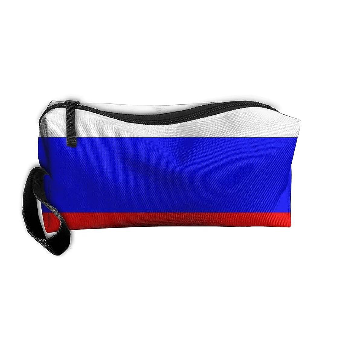 軽減する粘液グローロシアの旗 化粧ポーチ 収納ポーチ コスメポーチ ペンケース ペンポーチ 小物入れ トラベルポーチ 軽量 防水 携帯用