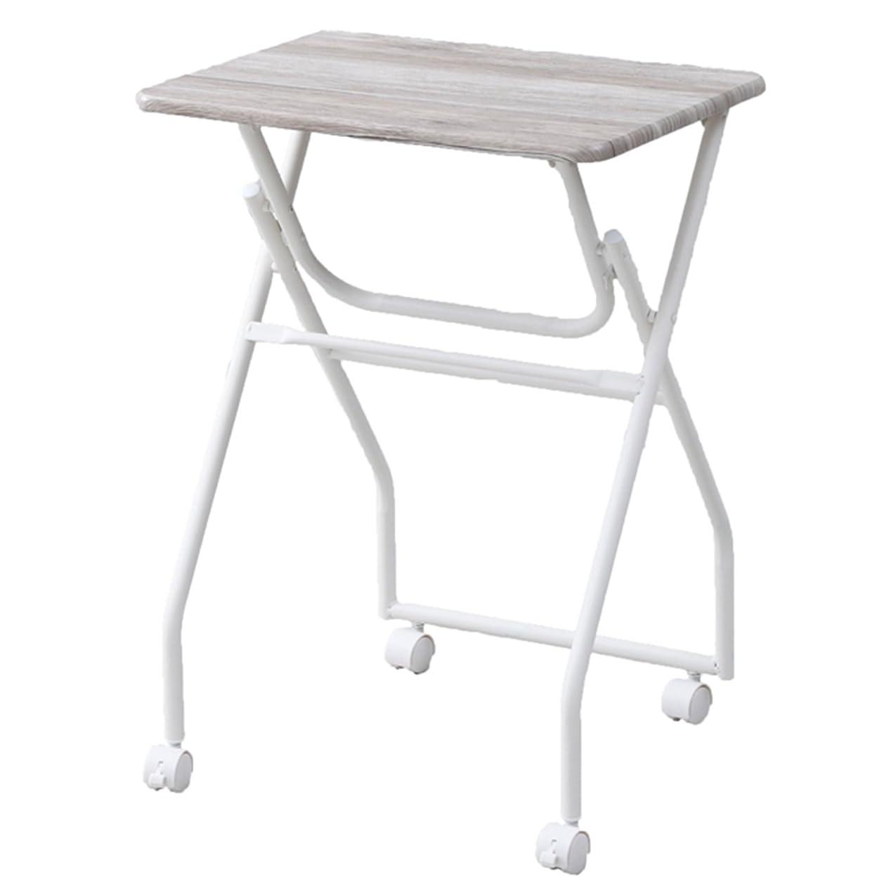 ものトーストピル山善(YAMAZEN) テーブル ミニ 簡単組み立て 折りたたみ式 キャスター付き サイドテーブル 幅50×奥行44×高さ70.5cm アンティークホワイト MST-5040(AIV/SWH)